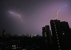 Lightning strikes Mumbai skyline on Saturday.