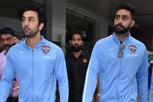 Ranbir Kapoor and Abhishek Bachchan take part in a football friendly.