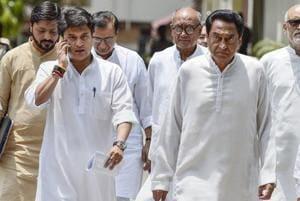 Congress Madhya Pradesh president Kamal Nath with senior Congress leaders Jyotiraditya Scindia and Digvijaya Singh come out after a meeting with the Election Commission at Nirvachan Sadan, in New Delhi.