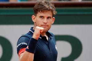 Dominic Thiem reacts during his French Open fourth round match against Japan