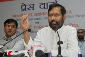 Union minister Ram Vilas Paswan during a press conference in Ranchi.