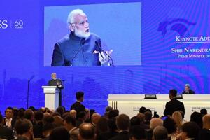 Prime Minister Narendra Modi delivers the keynote address at the opening of the 17th Asian Security Summit of the IISS Shangri-La Dialogue in Singapore on June 1.