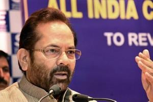 Union minister for minority affairs Mukhtar Abbas Naqvi during a conference in New Delhi.