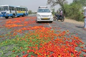 Vegetables lie scattered on a road as the farmers' protest enters third day, Hisar, June 3, 2018