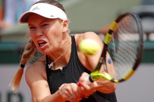 Caroline Wozniacki in action during her French Open fourth round match against Russia