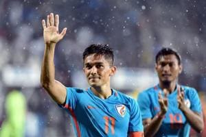 India player Sunil Chhetri (Blue jersey no. 11) had scored a hattrick in previous game against Chinese Taipei.