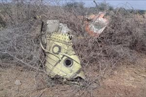 The remains of the crashed fighter jet in Mundra.