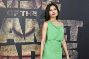 Frieda Pinto at the Premiere of Rise of the Planet of the Apes at Grauman's Chinese Theatre on July 28, 2011.