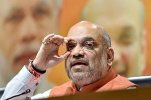 BJP national president Amit Shah addresses a press conference at party headquarters in New Delhi.