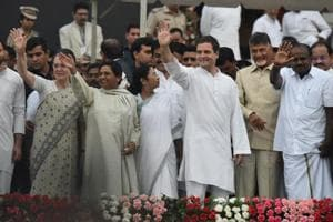 UPA chairperson Sonia Gandhi, Bahujan Samaj Party chief Mayawati , West Bengal chief minister Mamata Banerjee, Congress president Rahul Gandhi, Andhra Pradesh chief minister Chandrababu Naidu with Karnataka new chief minister Kumarswamy during his swearing-in ceremony in Bengaluru on May 23, 2018.
