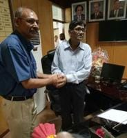 Officiating V-C Dr RML National Law University, Sanjay Singh (left), handing over charge to the new V-C Subir Kr Bhatnagar at on Tuesday.