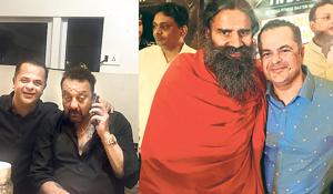 (LtoR) Chef Vicky Ratnani  with Sanjay Dutt and with Ramdev.
