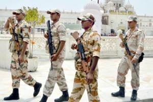 ITBP personnel deployed outside the Golden Temple as security was beefed up ahead of the Operation Bluestar anniversary.