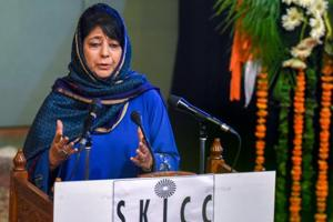 J&K chief minister Mehbooba Mufti addresses during a function at SKICC in Srinagar on Saturday.