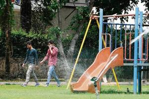 RAISING A STINK: The foul smell from tertiary treated water used to irrigate a park in Sector 27A has passers-by scrambling for their hankies.
