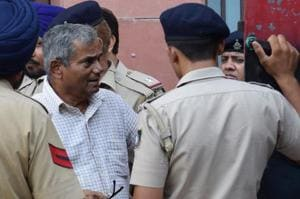 Former BSF DIG KC Padhi at the district courts in Chandigarh on Wednesday.