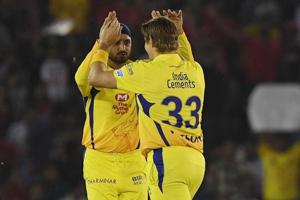 Shane Watson (R) and Harbhajan Singh both played for Chennai Super Kings during the 2018 Indian Premier League (IPL).