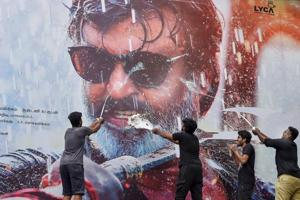 Rajnikanth fans celebrate the release of his film