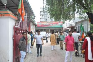A view of BJP office in Dehradun on Friday.