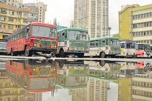 MSRTCbuses lined up at the Mumbai Central depot, after the staff went on a flash strike on Friday.