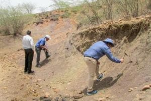 Members of the Geological Survey of India (GSI) and the National Trust for Art and Culture Heritage (INTACH) inspecting the Ramgarh Crater in Baran district of Rajasthan.