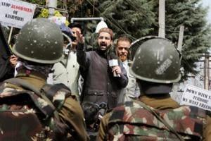 File photo of chairman Hurriyat Conference (M) Mirwaiz Umar Farooq addressing a protest rally in Srinagar.