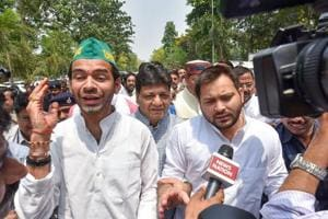 Lalu Yadav's elder son Tej Pratap (left) is apparently unhappy as his younger brother Tejashwi (right) is hogging all the limelight and emerging as a prominent regional leader by carrying on his father's legacy.