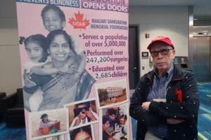 Chandrasekhar Sankurathri at the Manjari Sankurathri Memorial Foundation stall during the recent Canadian Ophthalmological Society's annual exhibition in Toronto.