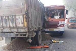 Six people died on the spot when a bus collided with a truck in Bulandshahr district , UP on June 10.
