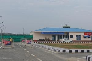The first domestic flight from the airport, functioning from a temporary building in the premises of the Adampur Airforce base station, took off on Labour Day on May 1.