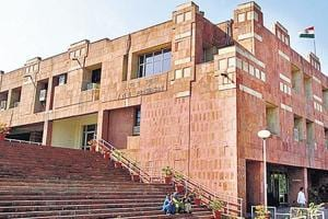 A file photo of JNU administrative building. The universities, which were given freedom on several academic, operational, and administrative issues earlier this year will also be expected to present a  five-year plan.