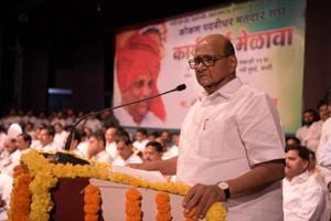 NCP Chief Sharad Pawar at Vishnudas Bhave Hall,Vashi at Vashi in Navi Mumbai, India.