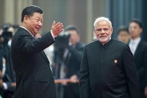 Prime Minister Narendra Modi with Chinese President Xi Jinping, at the SCO summit, Qingdao, China, June 10