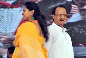 Supriya Sule(left) and Ajit Pawar at the rally to mark NCP's 19th anniversary in Pune on Sunday.