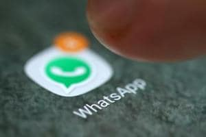 The WhatsApp app logo is seen on a smartphone in this picture illustration.