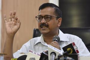 Delhi chief minister Arvind Kejriwal speaks during a press conference at his official residence at Civil Lines in New Delhi on Monday.