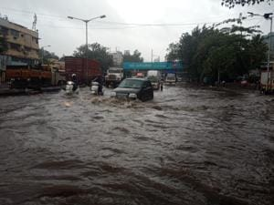 Several areas in the city, such as Gandhi Market in King's Circle (in photo), got water-logged on Saturday.