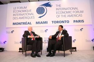 CM Devendra Fadnavis during an interview with Perrin Beatty, president and CEO, Canadian Chamber of Commerce at the Conference of Montreal in Canada.