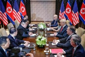 US President Donald Trump meets with North Korean leader Kim Jong Un at the Capella Hotel on Sentosa island in Singapore June 12, 2018.