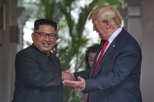 Trump and Kim meet in Singapore. The document signed by the two leaders committed Trump to providing security guarantees to North Korea, while Kim merely reaffirmed his commitment to complete denuclearisation of the Korean Peninsula