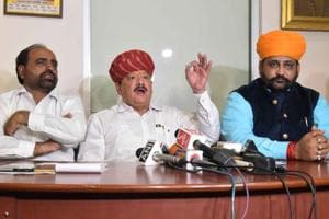 Giriraj Singh Lotwada and other Rajput leaders interact with media persons in Jaipur on Tuesday.