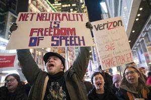 Demonstrators rally in support of net neutrality in New York, December 7, 2017