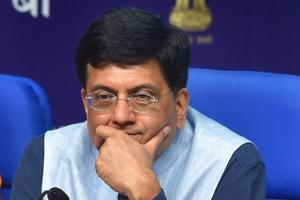 Railway Minister Piyush Goyal during a press conference in New Delhi.