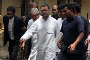 Congress president Rahul Gandhi arrives outside a court at Bhiwandi in Thane on Tuesday.
