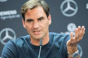 Roger Federer attends a press conference in Stuttgart prior the ATP Cup tennis tournament.