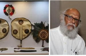 Artist Jatin Das and some of the fans from his huge collection.