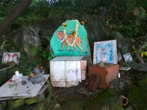 A Waghoba shrine in Mumbai forest, painted on a boulder, that is dedicated to  tiger.