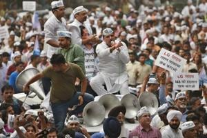 Senior Aam Aadmi Party leader Sanjay Singh leads a protest march against Lieutenant Governor Anil Baijal in New Delhi on Wednesday.