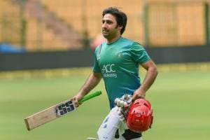 Afghanistan cricket team captain Asghar Stanikzai during a practice session on the eve of their one off Test match against India, in Bangalore.