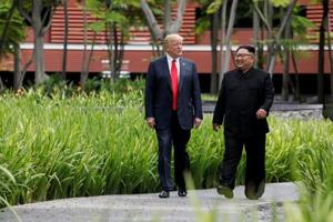 United States President Donald Trump and North Korean leader Kim Jong Un in Singapore.